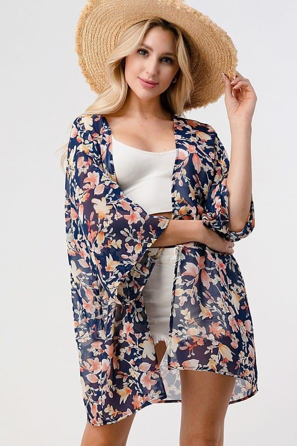 Loose Fit Kimono In Chiffon Duster Top