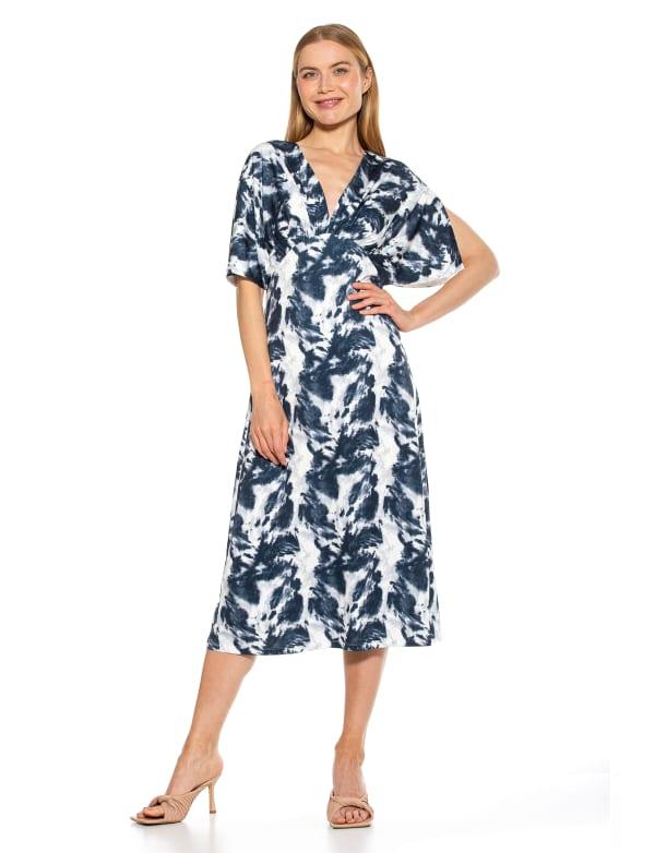 Draped V Neck Midi Dress