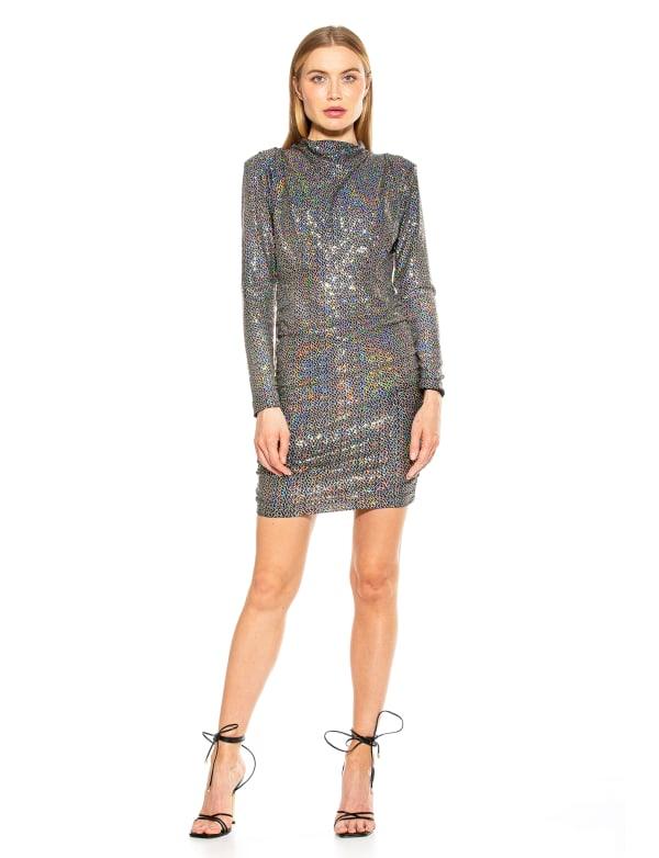 Long Sleeve Lurex Open Back Mini Dress