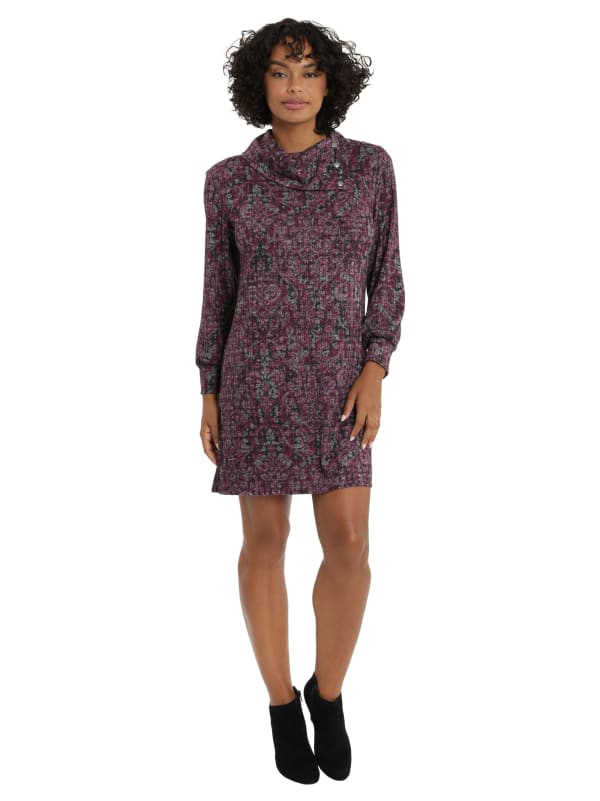 Turtleneck Shift with Buttons Dress - Petite