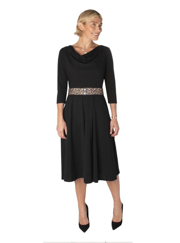 Cowl Neck Dress with Cheetah Belt Dress