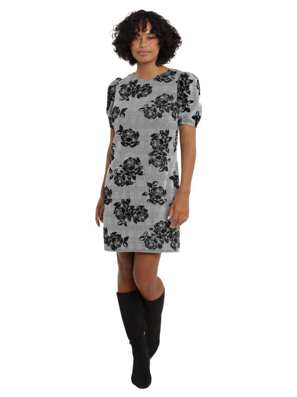London Times Laura Jewel Neck Puff Sleeve Shift Dress