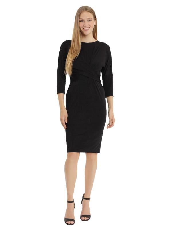 London Times Jess Dolman Sleeve Twist Front Dress