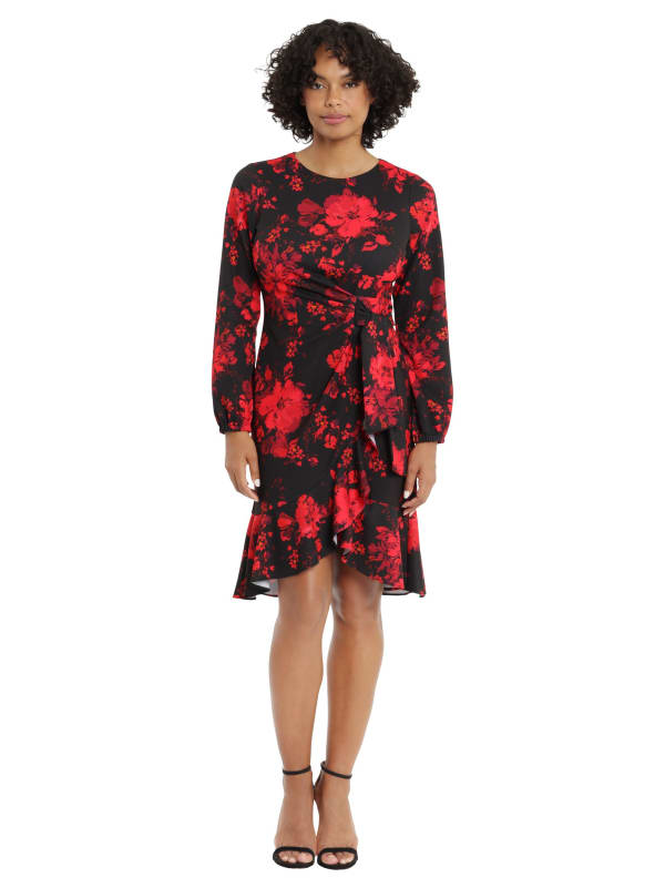 London Times Holiday Floral Side Tie Ruffle Dress