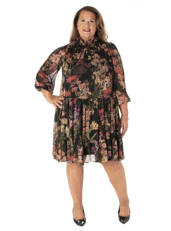 Printed Floral Mock Neck Chiffon Dress - Plus