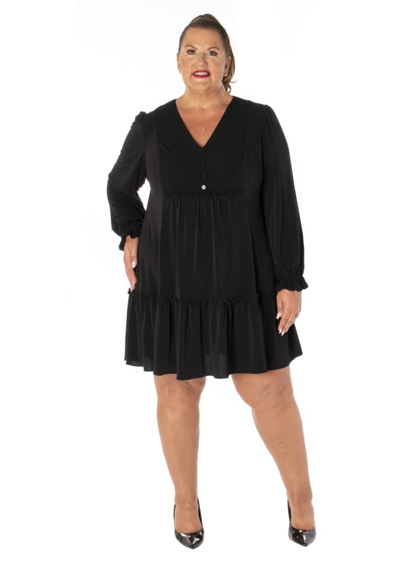 Taylor Two Tiered Button Placket Dress - Plus