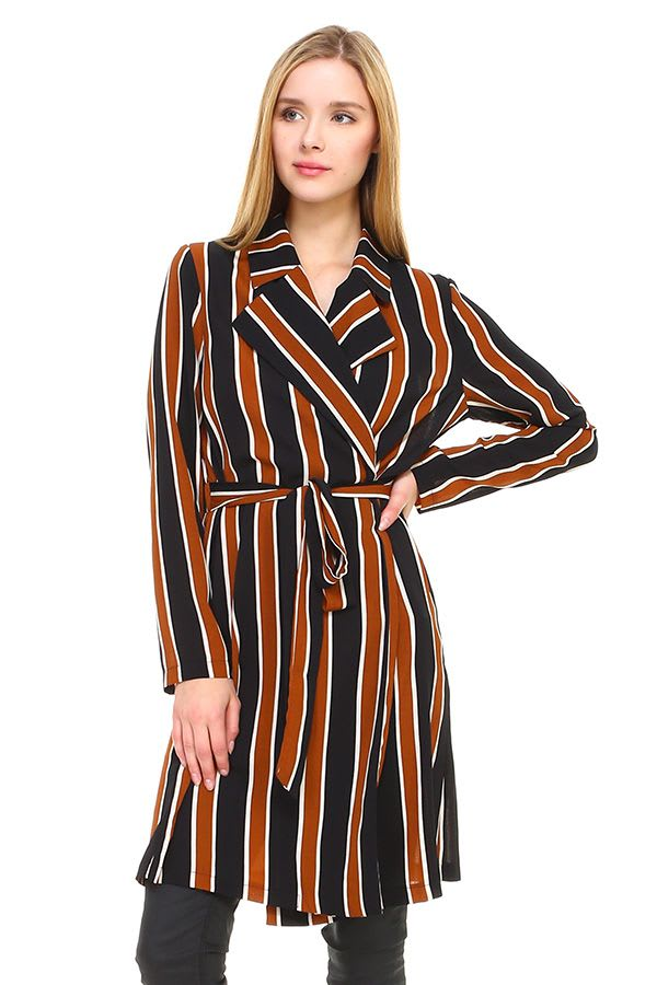 Trench Coat Multi Stripe Long Line Belted Jacket