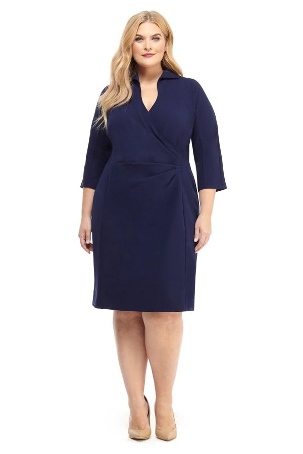 Side Pleat Wrap Shirt Dress - Plus