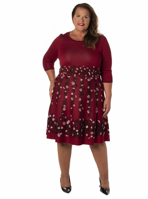 Taylor Pattern Fit & Flare Knitted Dress -  Plus