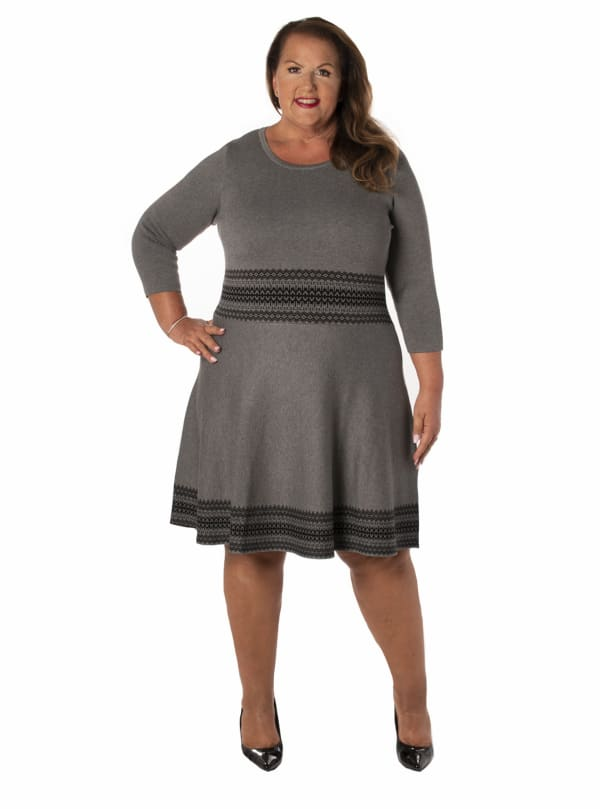 Taylor Fit & Flare Knitted Dress -  Plus