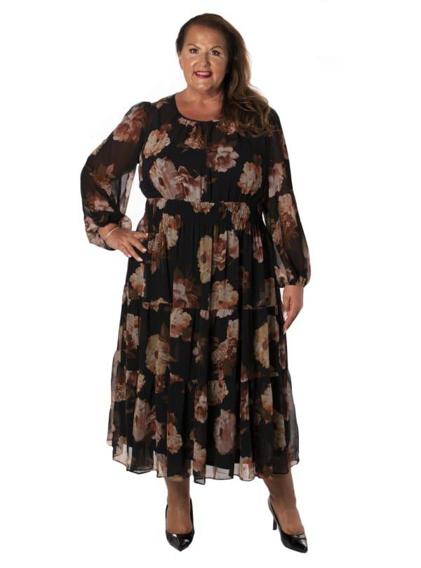 Chiffon Three Tiered Dress - Plus