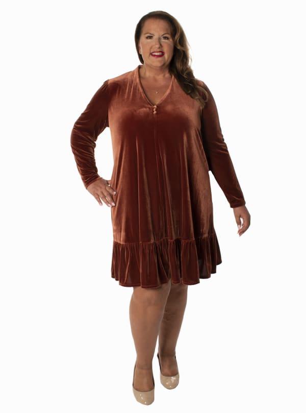Taylor  Velvet  Ruffle Hem Dress - Plus