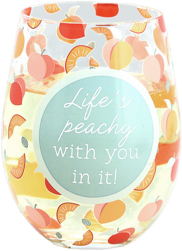 Life's Peachy - Stemless Wine Glass