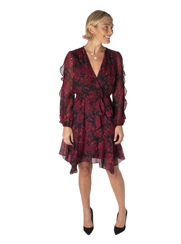 Printed Floral V-Neck Chiffon Dress