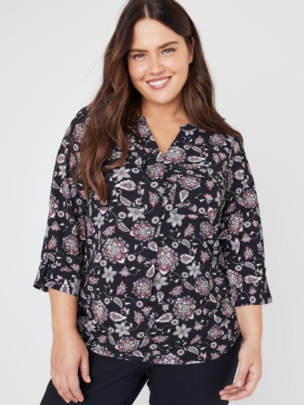 Roz & Ali Floral Side Tie Popover Blouse - Plus