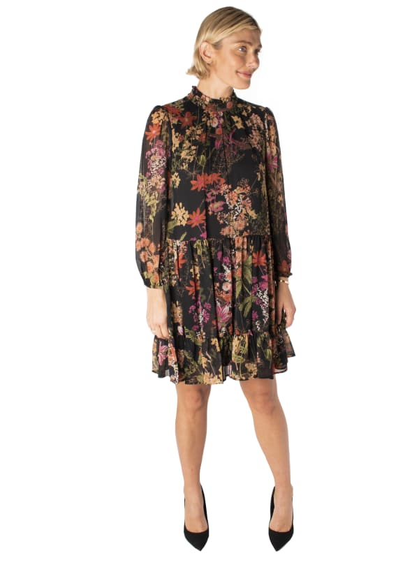 Printed Floral Mock Neck Chiffon Dress