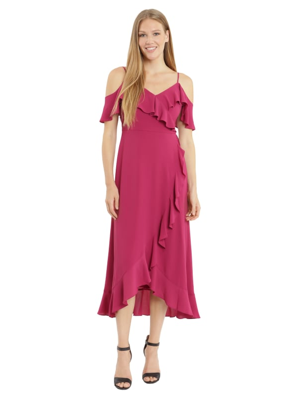 Ruffle Cold Shoulder Maxi Dress