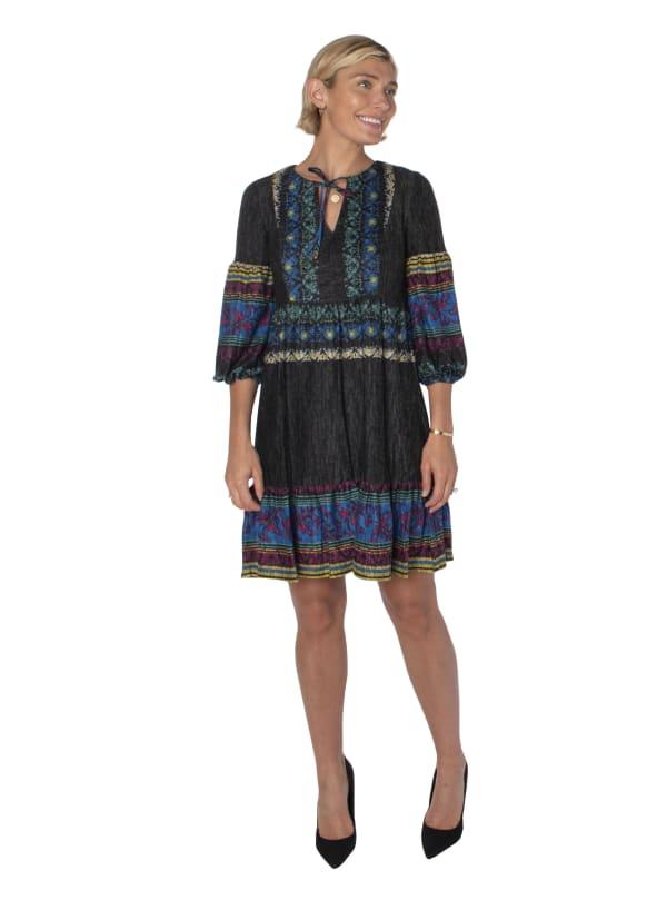 3/4 Sleeve Printed Peasant Dress