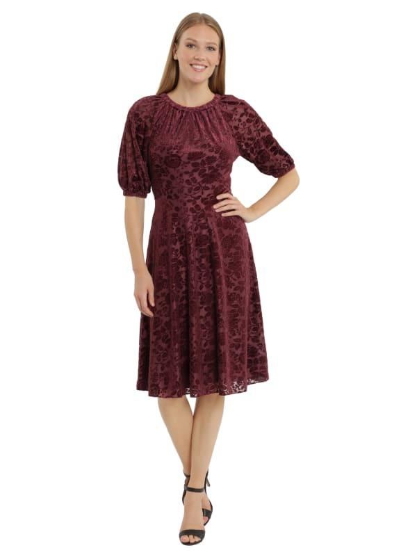 Velvet Burnout Puff Sleeve Midi Dress