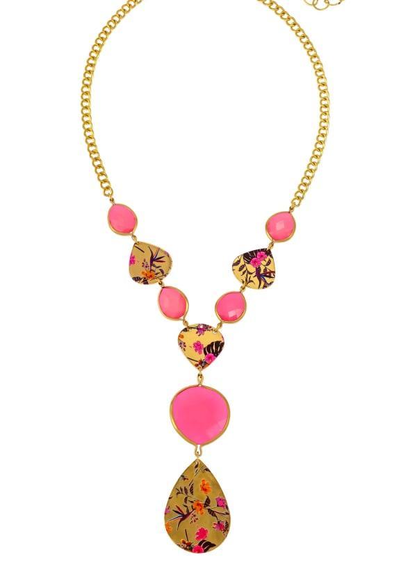 Carol Dauplaise Multi Pink Y Necklace