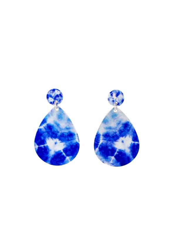 Carol Dauplaise Blue Tie Dye Drop Earring