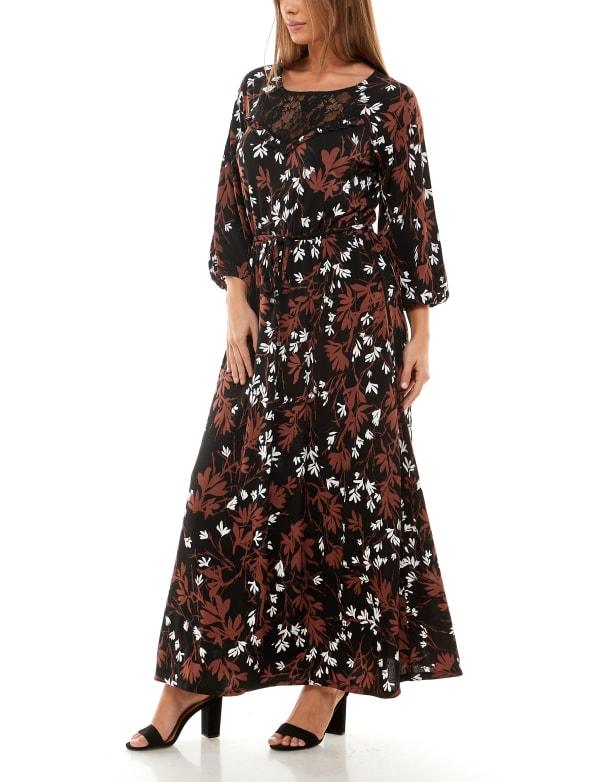 Adrienne Vittadini Three Quarter Sleeve Maxi Dress