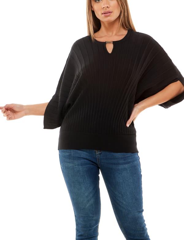 Adrienne Vittadini Dolman Sleeve With Keyhole Pullover