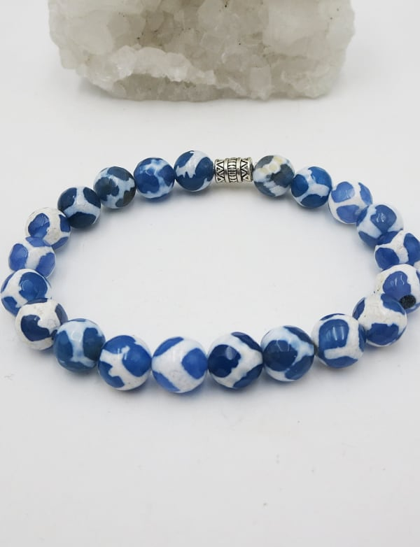 Jewels For Hope White and Blue Agate Tibetan Style Stretch Bracelet