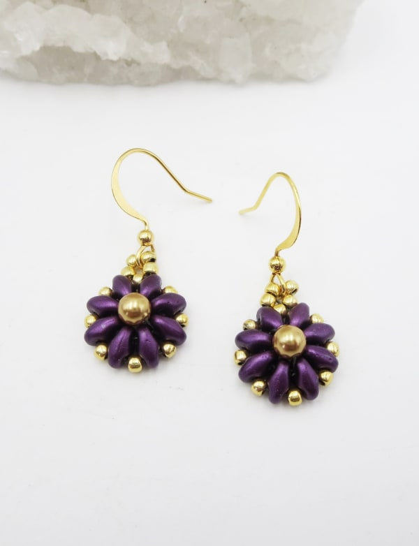 Jewels For Hope Purple and Gold Flower Earrings