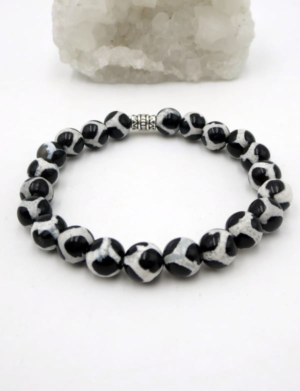 Jewels For Hope White And Black Agate Tibetan Style Stretch Bracelet