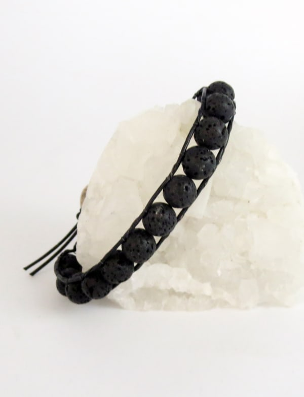 Jewels For Hope's Black Lava Stone Wrap Bracelet - As seen on Hallmark Star Will Kemp
