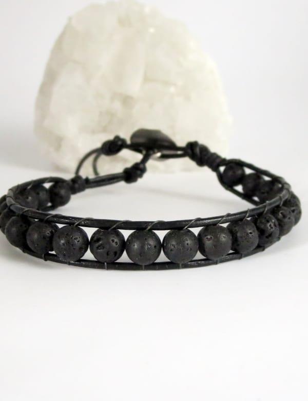 Jewels For Hope Black Lava Stone Wrap Bracelet