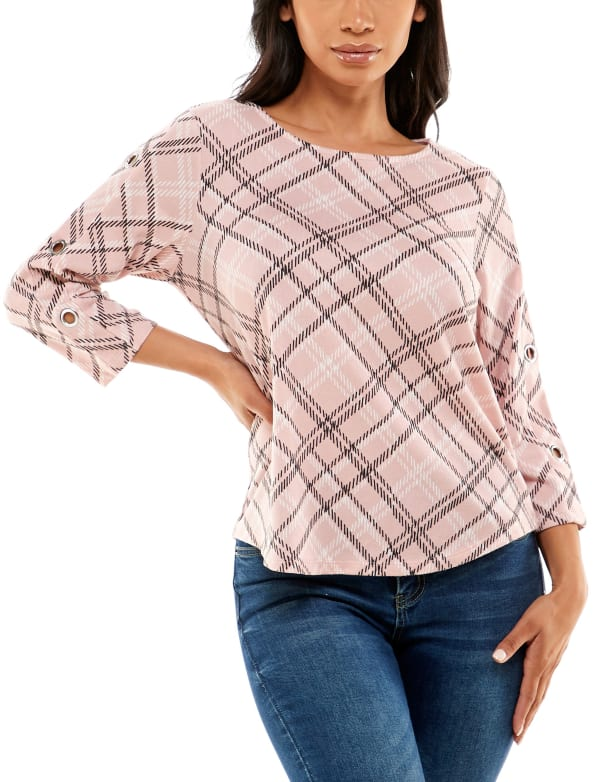Three Quarter Sleeve Hacci With Grommets Top