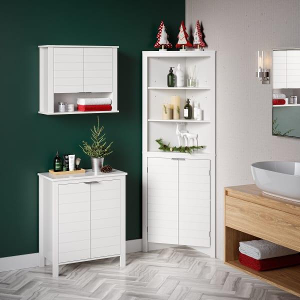 Madison White Tall Corner Cabinet