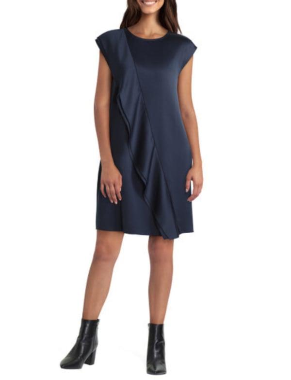 H Halston Short Length Ruffle Front Dress