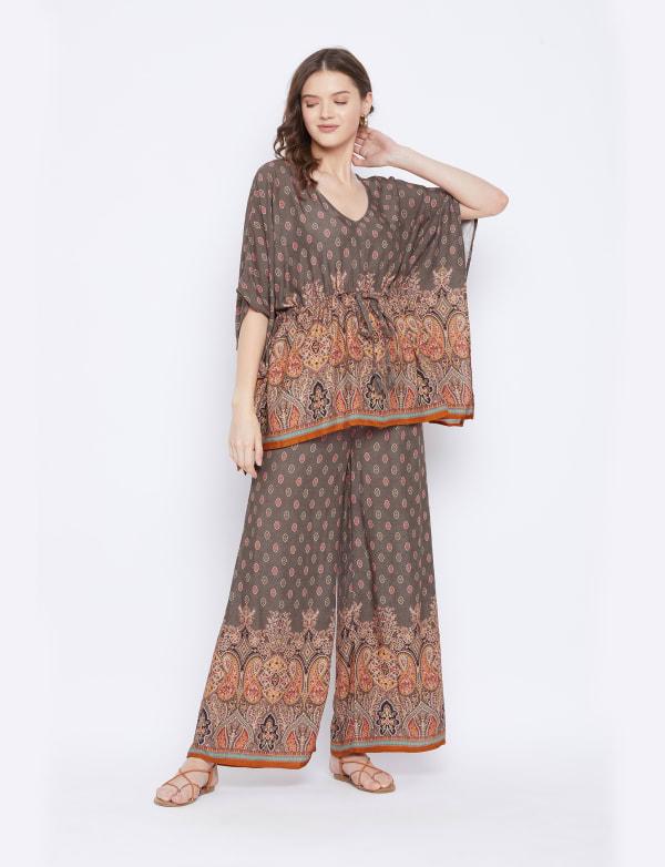 2-Piece Co-Ord with Adjustable Drawstring Rayon Set Pajama
