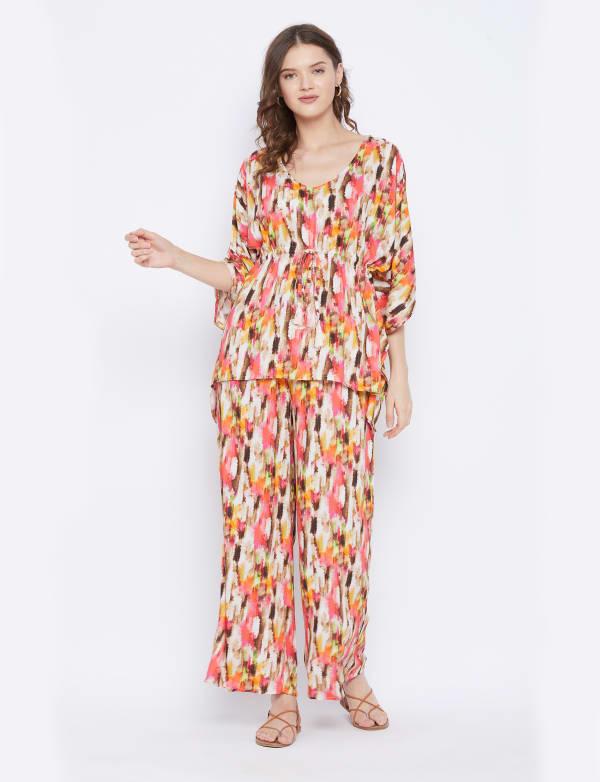 2-Piece Top and Bottom Rayon Co-Ord Pajama Set - Plus