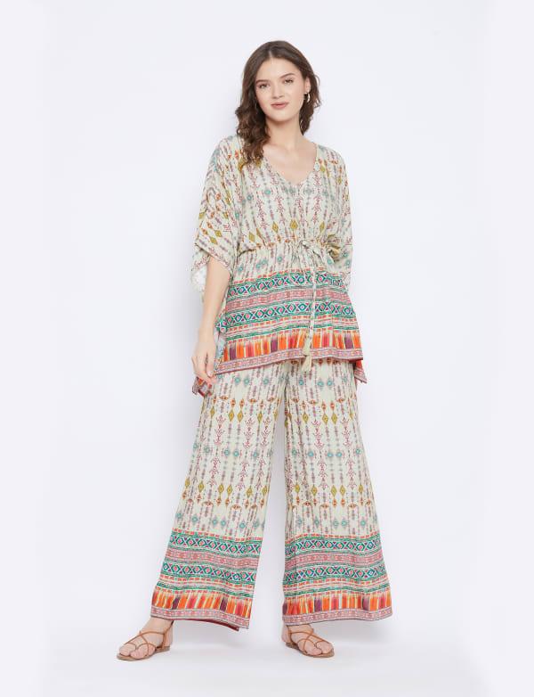 2-Piece Top Rayon Co-Ord Sets V-Neck Pajama - Plus