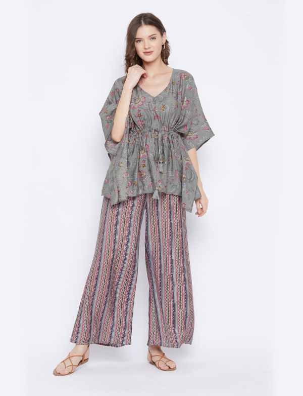 2-Piece Top and Pajama Rayon Co-Ord Sets with Adjustable Drawstring