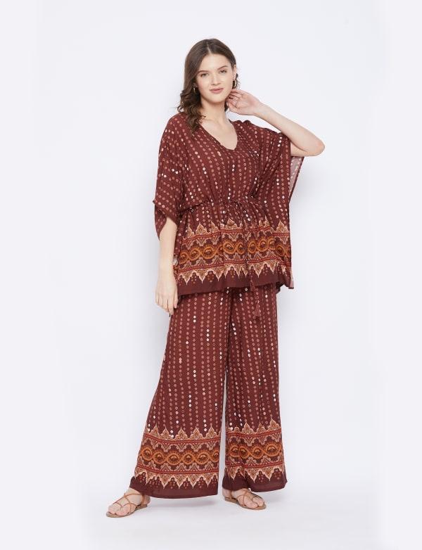 2-Piece Top and Bottom Rayon Co-Ord Multi Color Pajama Set - Plus