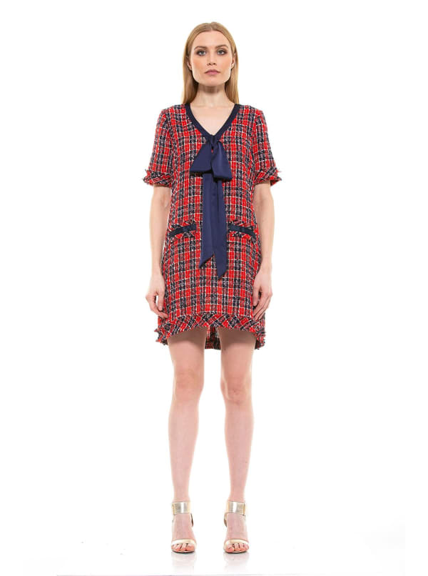 Tweed Shift With Bowtie Dress