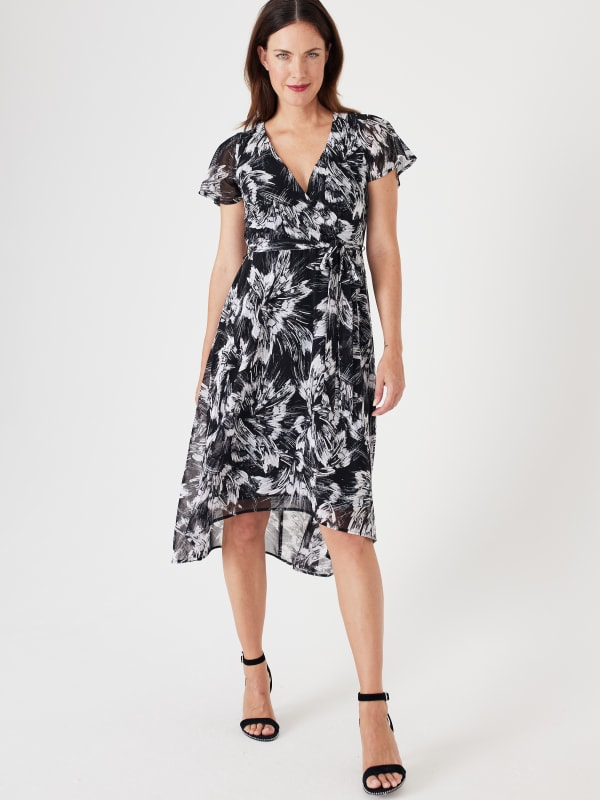 High Low Black/Taupe Floral Mesh Wrap Dress