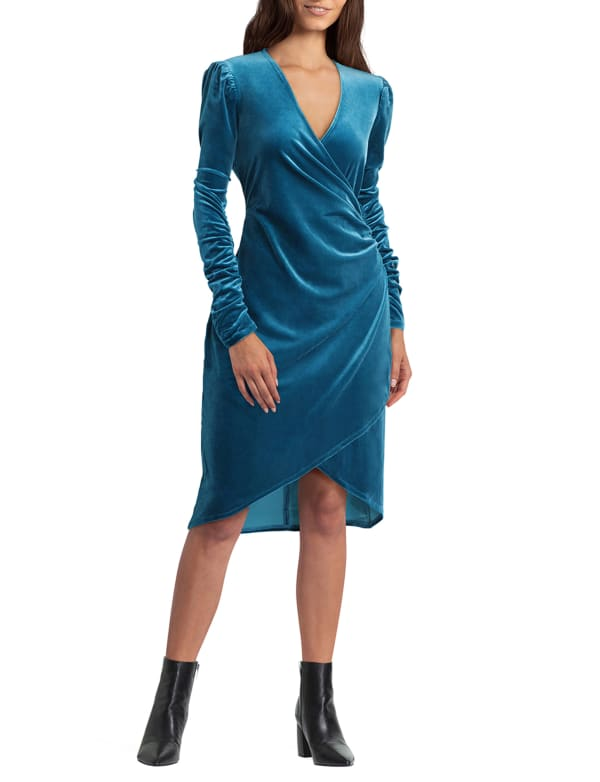 Gigi Parker Faux Wrap with Ruched Long Sleeves Dress