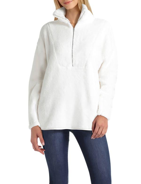 H Halston Studio Long Sleeve Zip Neck Hoodie Pullover