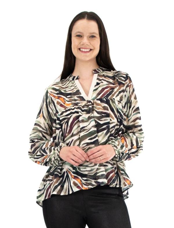 Zac & Rachel Long Sleeve Novelty V-Neck Blouse - Plus
