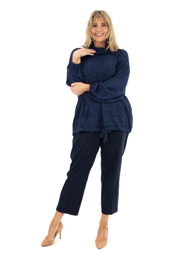 Zac & Rachel Long Sleeve Funnel Neck Cozy Knit Top - Plus