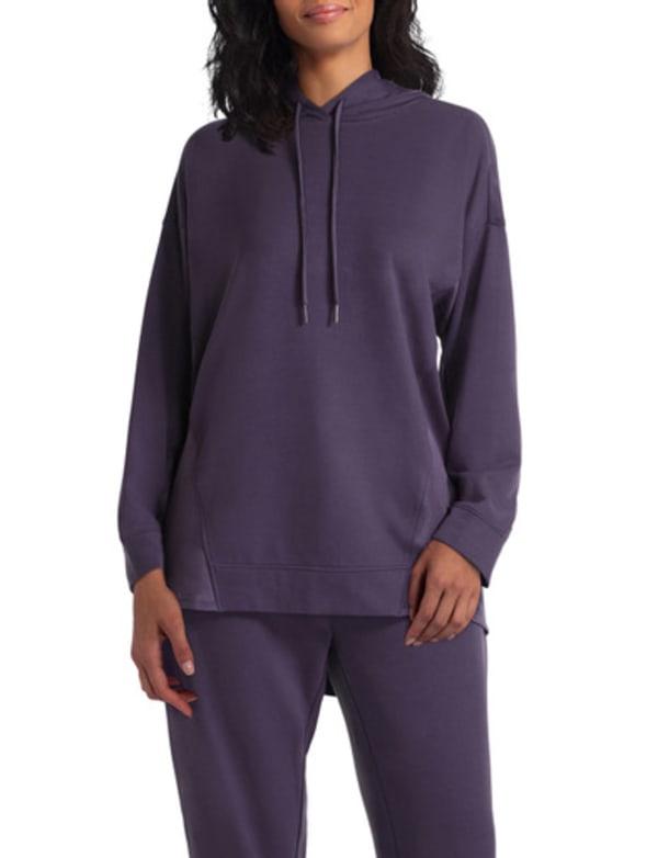 H Halston Studio Long Sleeve Swing Back Hooded Pullover