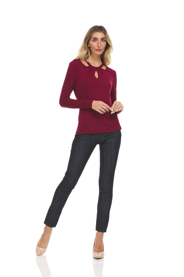 Solid Long Sleeves With Novelty Fold Over Neckline Crew Neck Top