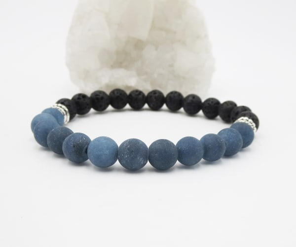 Jewels For Hope Black Lava Stone and Jade Stretch Bracelet