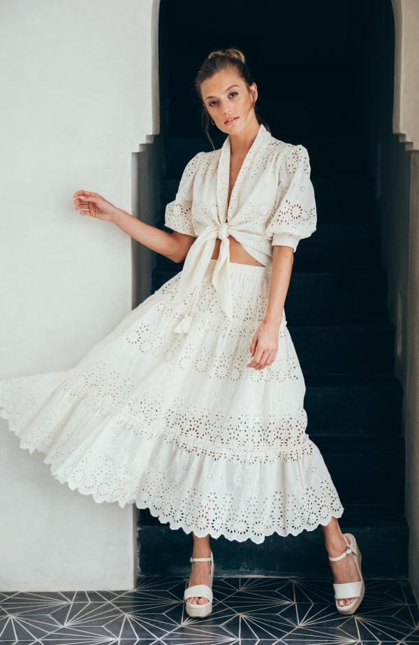 Sukiso Eden White Eyelet Tiered Maxi Skirt